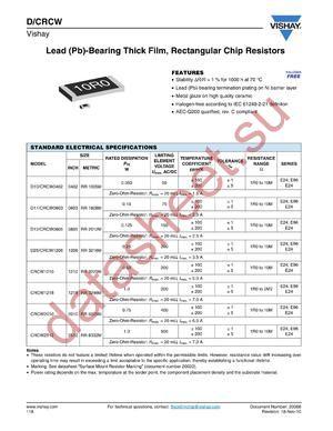 CRCW2512MFSTA datasheet скачать даташит