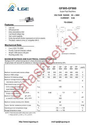 GF850 datasheet скачать даташит