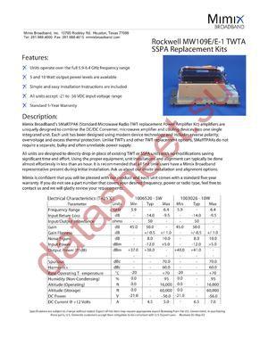 MW109E-1 datasheet скачать даташит