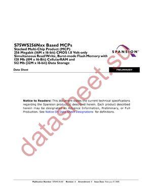 S75WS256NDFBAWPA datasheet скачать даташит