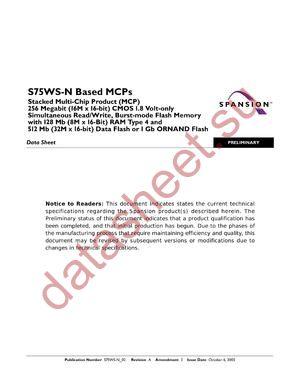S75WS256NEFBAWNK3 datasheet скачать даташит