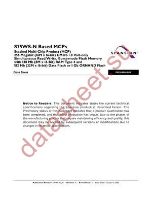 S75WS256NEFBAWSK0 datasheet скачать даташит