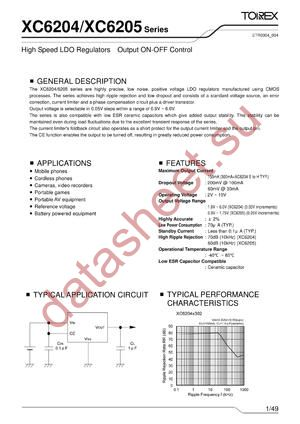 XC6205D382PL datasheet скачать даташит