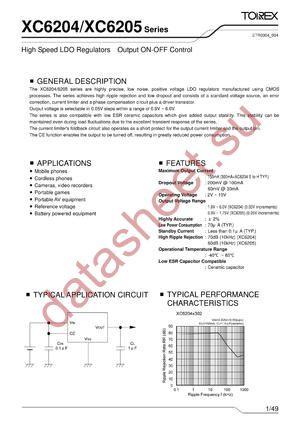 XC6205D492ML datasheet скачать даташит
